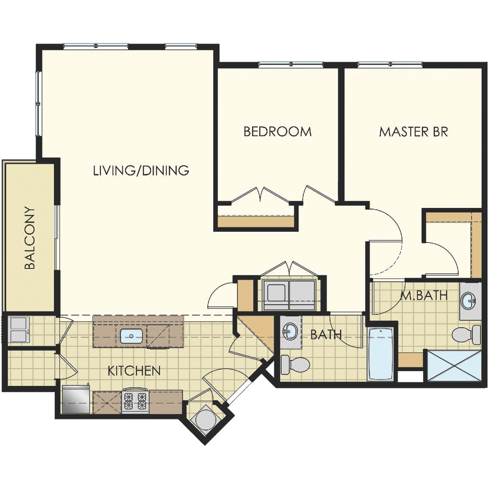 Station at Lyndhurst One Bedroom Floor Plan Unit B8